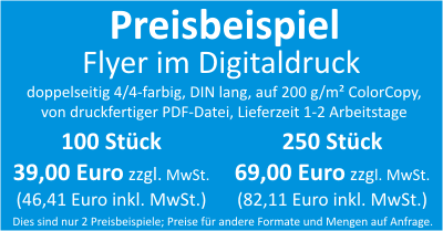 Flyer Digitaldruck Preisbeispiel